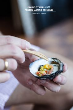 Pacific Oysters With Frozen Mango And Chilli Dressing