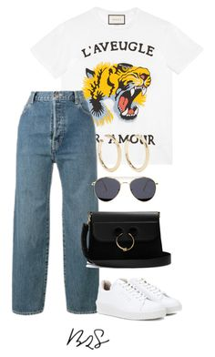 """#883"" by blendingtwostyles ❤ liked on Polyvore featuring Gucci, Levi's, Kenneth Jay Lane, Eytys and J.W. Anderson"