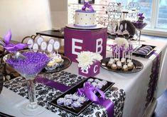 purple baby shower dessert table purple baby shower themes 554x386