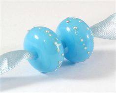 FireSong Creations artisan handmade matching lampwork beads SRA Earring Set, Blue, Silver