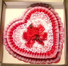 "LARGE 18"" Vintage Valentine Heart Candy Box RED Pleated Satin NEW OLD STOCK"