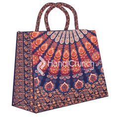 Blue and orange pattern mandala print shopping bag Mandala Print, Orange Pattern, Handicraft, Shopping Bag, Handbags, Girls, Blue, Stuff To Buy, Accessories