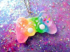 Neon Rainbow Mini PlayStation Controller by NerdyLittleSecrets