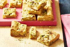 Pistachio nuts and white chocolate work like a dream in this delicious blondie slice with added crunch. It's simple to eat, perfect with an afternoon tea!