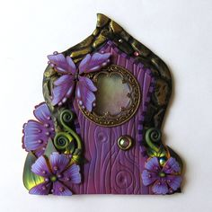 Purple Blossoms with a Butterfly Fairy Door by Claybykim Polymer Clay Miniature Fairy Gardens and Home by Claybykim on Etsy