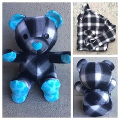 Nestling Kids A very special memory bear made from a flannel shirt and turquoise heart flannel. Trendy Baby Boy Clothes, Sewing Baby Clothes, Sewing Toys, Baby Sewing, Sewing Crafts, Sewing Projects, Diy Clothes, Diy Teddy Bear, Teddy Bears