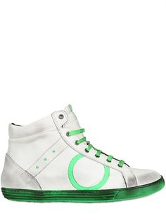 PLAYHAT - NEON AND VINTAGED LEATHER SNEAKERS - LUISAVIAROMA - LUXURY SHOPPING WORLDWIDE SHIPPING - FLORENCE