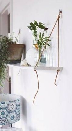 DIY shelf with rope or cord. Command Hook Ideas For Home Decor  Domino