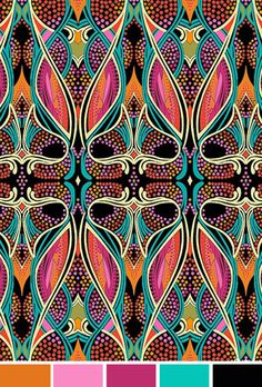 lovely pattern thats bright and colourful, showing typical art nouveau floral influences Design Art Nouveau, Motif Art Deco, Art Design, Art Deco Fabric, Art Nouveau Pattern, Love Design, Motifs Textiles, Textile Patterns, Print Patterns
