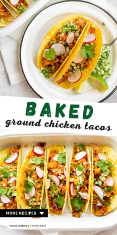 These baked ground chicken tacos are the most delicious way to use ground chicken. Perfectly flavored ground chicken taco meat stuffed into crispy corn taco shells and topped with cheese, cilantro, onion, and radish. You'll love this simple crowd pleasing meal! Fancy Dinner Recipes, Delicious Dinner Recipes, Dinner Ideas, Quick Chicken Recipes, Quick Meals, Easy Dinners, Ground Chicken Tacos, Quick Casseroles, Taco Shells