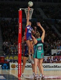 MELBOURNE, AUSTRALIA - MAY 20: Anna Harrison of the Mystics blocks the shot of Karyn Howarth of the Vixens during the round eight ANZ Championship match between the Melbourne Vixens and the Northern Mystics at Hisense Arena on May 20, 2012 in Melbourne, Australia. (Photo by Scott Barbour/Getty Images)