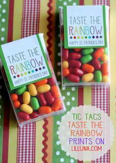 Cute and Simple Taste the Rainbow Prints for Tic Tacs. { lilluna.com } #stpatricksday