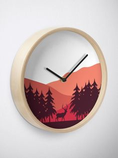 """""""Sunset Landscape"""" Clock by ind3finite 