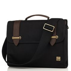 """Padstow 13"""" Black Cotton Canvas Twill Slim Briefcase Laptop Bag from KNOMO: Official Store   Men's 13"""" Laptop Bag Slim Briefcase Black Canvas   Stylish Briefcase Laptop Bags   Men's Bags   Designed by KNOMO London $189"""