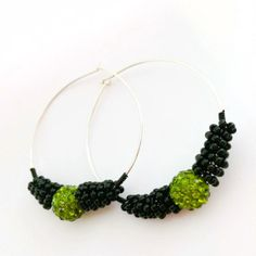 Wire Wrapped Black and Green Beaded Hoops by TheMagicOfBeads, ¥1600