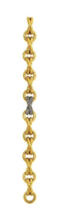 A diamond-set gold bracelet, by Paloma Picasso for Tiffany & Co.   Composed of an alternating series of polished 18ct gold circlets and cross-over links, the central cross with pavé diamonds, London hallmark, 18.0cm long  Signed Paloma Picasso and Tiffany & Co.