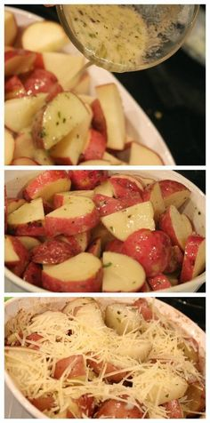 Parmesan Roasted Garlic & Herb Potatoes ~ The blends in the butter combined with the parmesan cheese is delicious!
