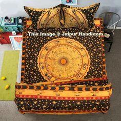 indian horoscope mandala duvet cover set with bedsheet and pillows