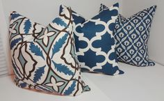 Pillow Trio Blue Geometric Moroccan Print Pillow Covers Decorative Throw Pillow Covers 18x18