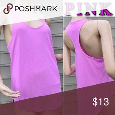 PINK ESSENTIAL RACERBACK TANK NEW!!! Color Neon Princess Soft slub jersey that's soft enough to sleep in plus a slouchy fit make this racerback the perfect all-day, everyday layering tank. Only by Victoria's Secret PINK.  In super soft, slub jersey Relaxed, easy fit Curved hem Imported cotton/polyester PINK Victoria's Secret Tops