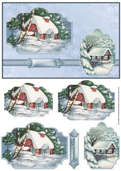 Christmas vintage house in the snow card on Craftsuprint designed by Angela Wake - Christmas vintage house in the snow card with toppers and layers for depth - Now available for download!