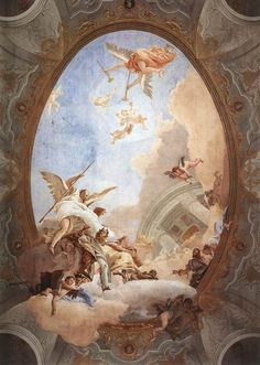 Giovanni Battista Tiepolo - Allegory of Merit Accompanied by Nobility and Virtue - - Rococo - Wikipedia Renaissance Kunst, Renaissance Paintings, Angel Aesthetic, Aesthetic Art, Inspiration Art, Art Inspo, Collage Des Photos, Art Et Architecture, Baroque Painting