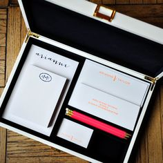 This mix-and-match, personalized stationery desk set is sure to wow! The Neon Navy Collection is flat printed and letterpressed in navy & neon orange inks and customized with your name and monogram.  The pencils are a coordinating neon pink.  The white lacquer box includes:  150 sheet 4.25