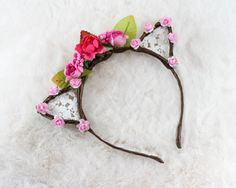 Pink Floral Lace Cat Ears Flower Lace Cat Headband by papercute