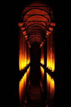 Basilica Cistern - Istanbul | The Basilica form informs the structure all the way through, even in the basement cisterns. Here there is not need for the procession and formality, but it still is built this way. Why could this be, if this is a space not really meant for human use? Is it reduction of material, instead of using solid walls?