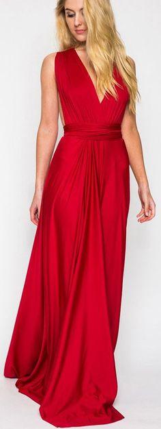 Red,V-neck Maxi Dress ==
