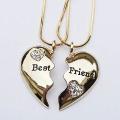 jewels bff coat gold necklace with the bestfriends kn it jewelry necklace bff bff necklace best friends necklace bff jewelry bag gold heart Bff Necklaces, Best Friend Necklaces, Best Friend Jewelry, Cute Necklace, Gold Necklace, Gold Choker, Diamond Necklaces, Circle Necklace, Leather Necklace