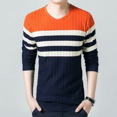 Winter Knitted Sweater Men V-necke Plus Size Korean Fashion Thick Striped Pullovers 2016 New Slim Casual Mens Sweaters 3XL HOT