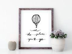 hot air balloon art print - Free Wall Art Printable - Paperon design - wall art - dr. seuss