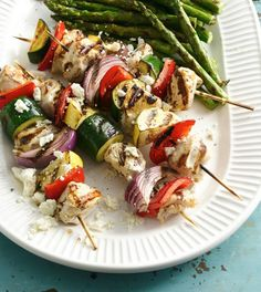Get your skewers ready—these colorful, lemon- and rosemary-marinated kabobs are great for a weekend BBQ or a fresh and fun weeknight dinner. Add leftover grilled chicken and veggies to salad for an easy and affordable next-day lunch!
