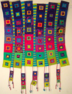 "Marge Holtz's ""Hanging Squares"" quilt art textile fabric"