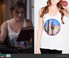 Aria's graphic tank on Pretty Little Liars.  Outfit Details: http://wornontv.net/44780/ #PLL