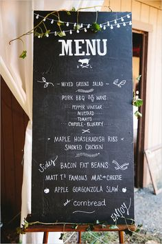 wedding menu chalkboard @weddingchicks