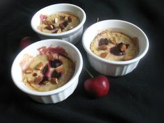 Baked Cherry Oatmeal Dessert Puddings - Healthy enough to eat for breakfast