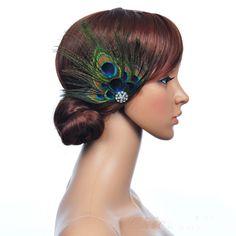 Pas cher nouveau mode bijoux plume de paon mariage casque clip accessoire cheveux parti, Acheter