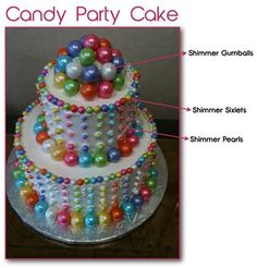 Candy Cake made with Shimmer Sixlets, Gumballs, and Pearls