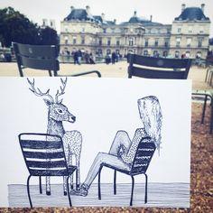 Quand l'hiver a pointé son nez  Dessin - Illustration - Hiver - Jardin du luxembourg
