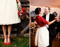 What better way to incorporate color into your wedding. Add  awesome shoes and a cardi!