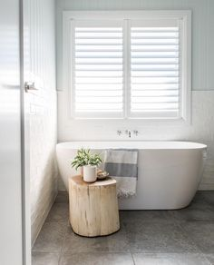 Log stools for bathrooms