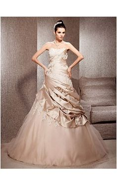 A-line Strapless Court Train Satin And Tulle Wedding Dress