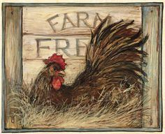 Discover thousands of images about Rooster Kitchen Art Print - Country Good Morning Chicken Wall Home Decor Picture Rooster Painting, Rooster Art, Rooster Decor, Tole Painting, Painting On Wood, Chicken Crafts, Chicken Art, Chicken Signs, Farm Paintings