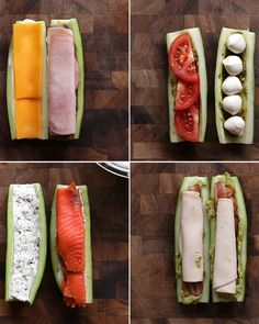 Cucumber Subs 4 Ways (cucumber bites appetizers) Low Carb Recipes, Snack Recipes, Cooking Recipes, Healthy Recipes, Lunch Box Bento, Cucumber Recipes, Cucumber Bites, Cucumber Sandwiches, Healthy Snacks