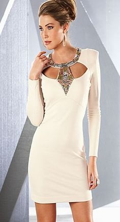 e3a83a3d2e form-fitting sexy white dress with cut-out sparkly neckline