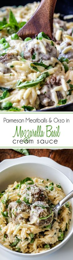 Parmesan Meatballs and Orzo in Mozzarella Basil Cream Sauce (lightened up) - crazy delicious creamy, cheesy sauce coating juicy meatballs and tender orzo.  SO GOOD! I could eat this for days. #orzo #basil #creamsauce #basilcreamsauce #meatballs