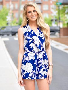 Blue Floral Romper - $44.99 : FashionCupcake, Designer Clothing, Accessories, and Gifts