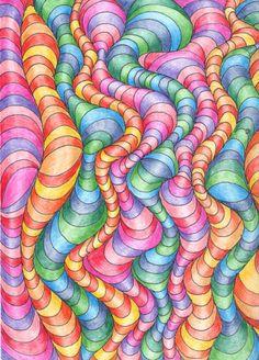 Wavy line optical design art